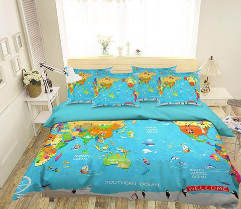 3D Colored World Map 353 Bed Pillowcases Quilt