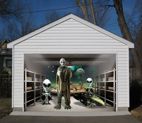 3D Aliens 400 Garage Door Mural & Themes-Green tagged \