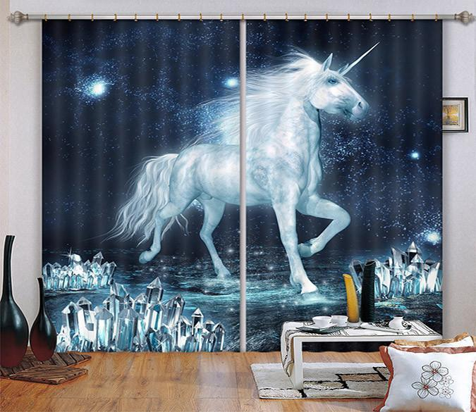 3D Handsome Unicorn Curtains Drapes Wallpaper AJ Wallpaper