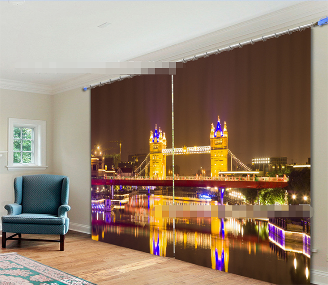 3D London Bridge Nigh View 2191 Curtains Drapes Wallpaper AJ Wallpaper