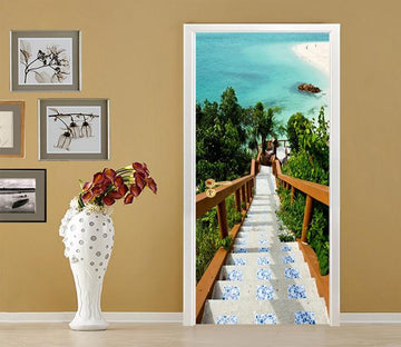 3D Beach Stairs 83 Door Mural Wallpaper AJ Wallpaper
