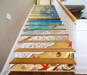 3D Sea Treasures Seagulls 1418 Stair Risers Wallpaper AJ Wallpaper