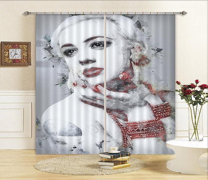 3D Elegant Woman 102 Curtains Drapes Wallpaper AJ Wallpaper