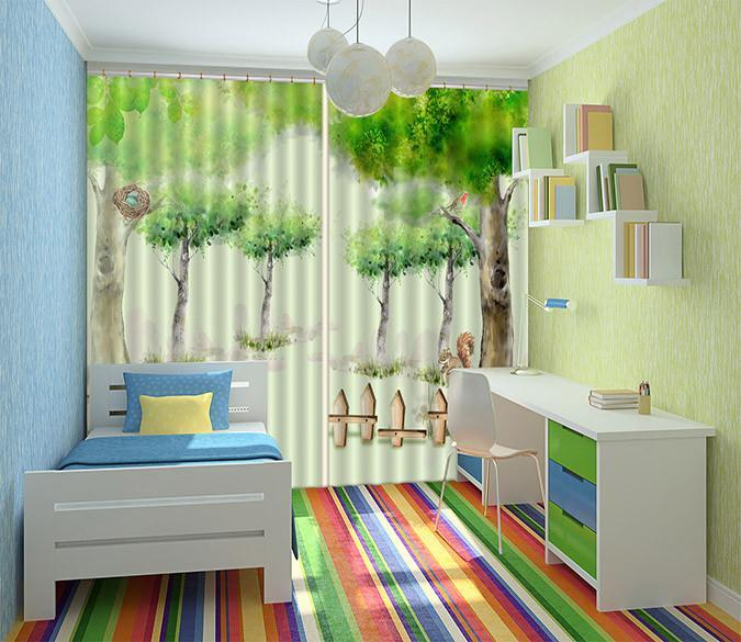 3D Trees Animals 244 Curtains Drapes Wallpaper AJ Wallpaper