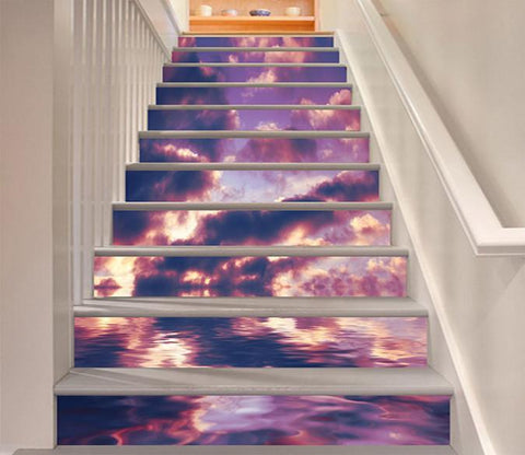 3D Sea Rosy Clouds 1581 Stair Risers