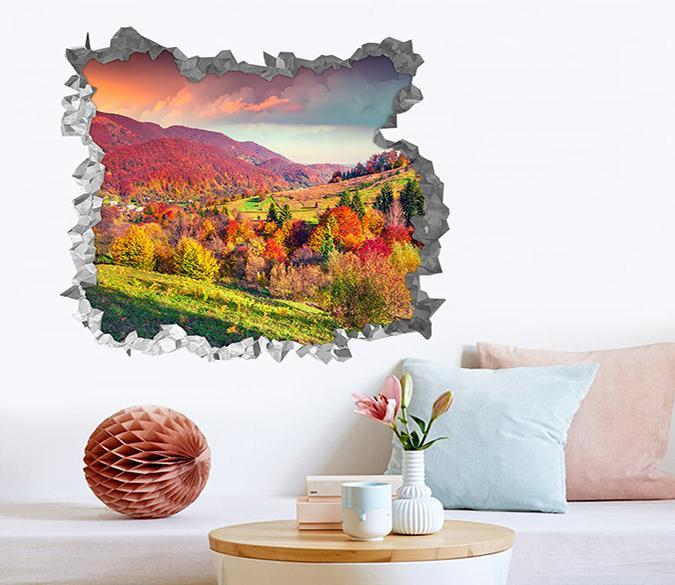 3d Colorful Mountains Scenery 206 Broken Wall Murals Aj Wallpaper