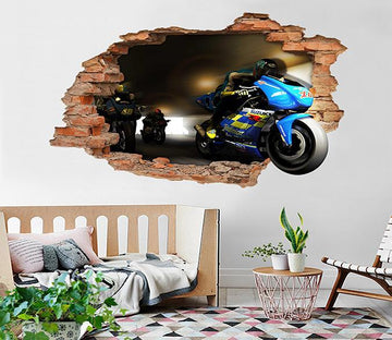 3D Motorcycle Team 14 Broken Wall Murals Wallpaper AJ Wallpaper