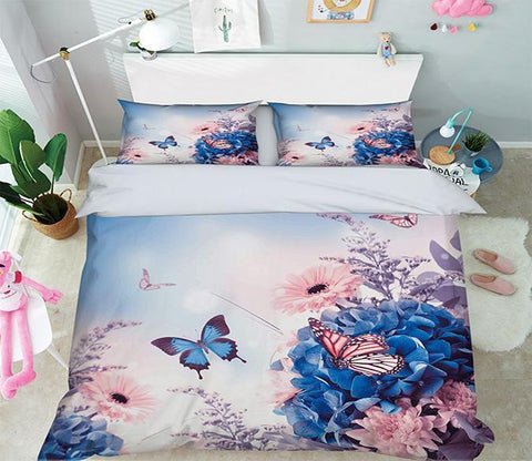 3D Flowers Butterflies 347 Bed Pillowcases Quilt Wallpaper AJ Wallpaper