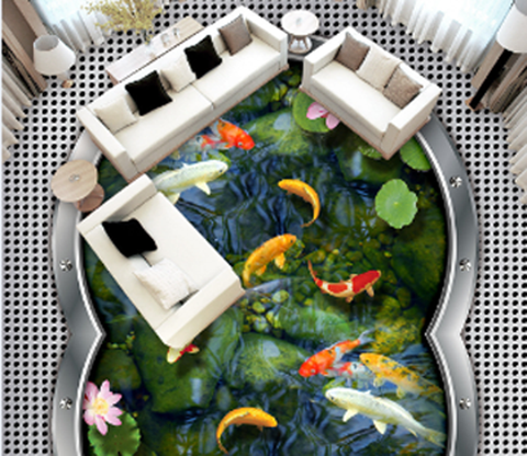 3D Fish Pond Floor Mural Wallpaper AJ Wallpaper 2