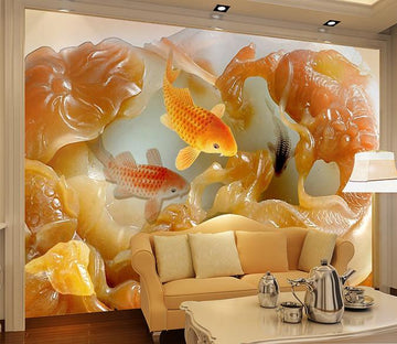 3D Fish carving stone flowers Wallpaper AJ Wallpaper 1