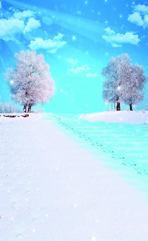 3D blue sky white clouds the snow tree door mural Wallpaper AJ Wallpaper