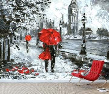 3D Doodle Couple Umbrella 726 Wallpaper AJ Wallpaper