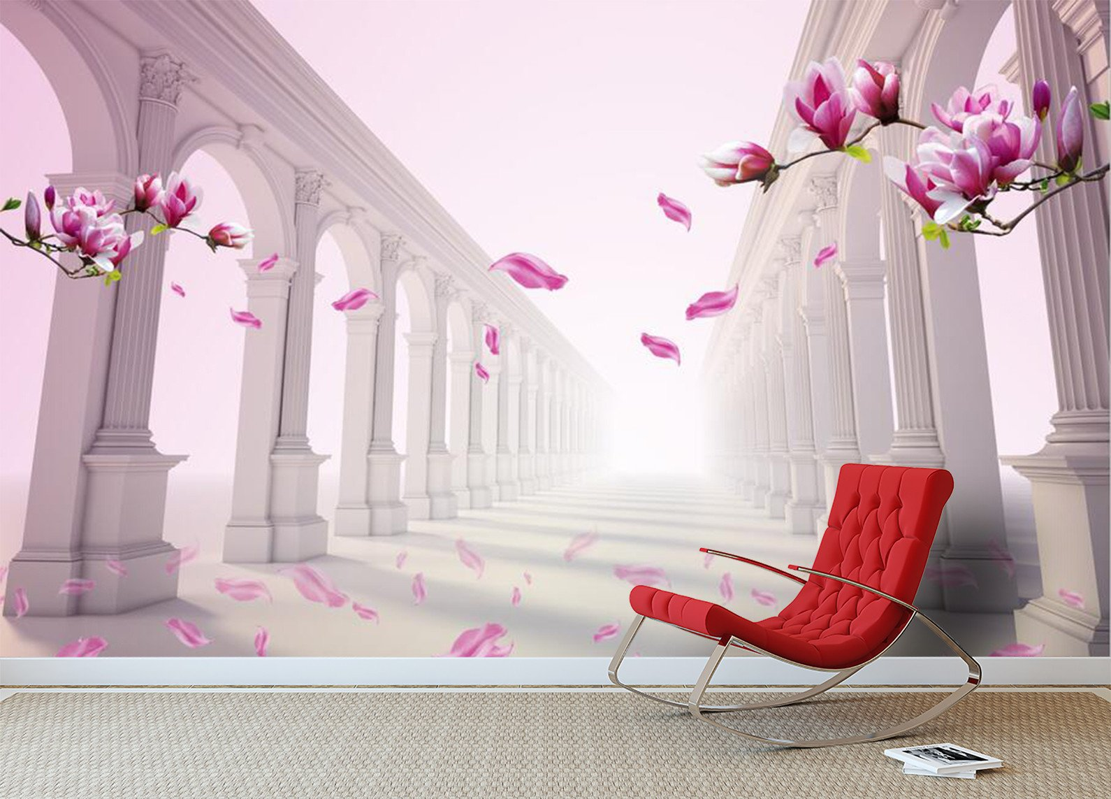3D Pink flower pattern column Wallpaper AJ Wallpaper 1