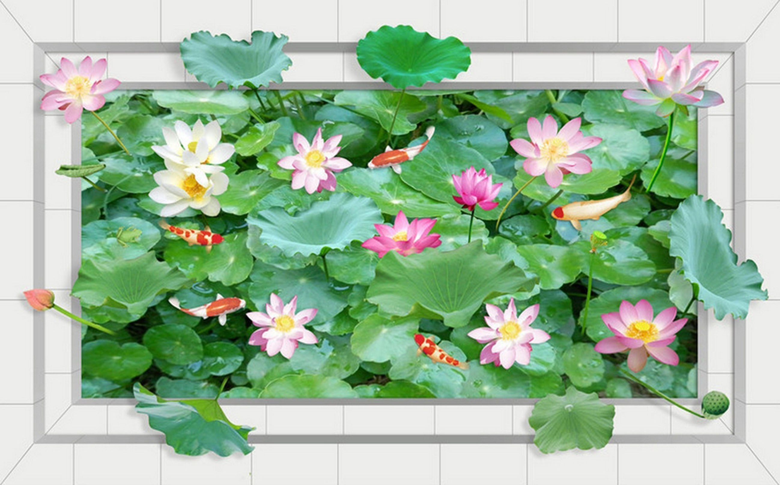 3D Lush Lotus Pond 142 Kitchen Mat Floor Mural Wallpaper AJ Wallpaper