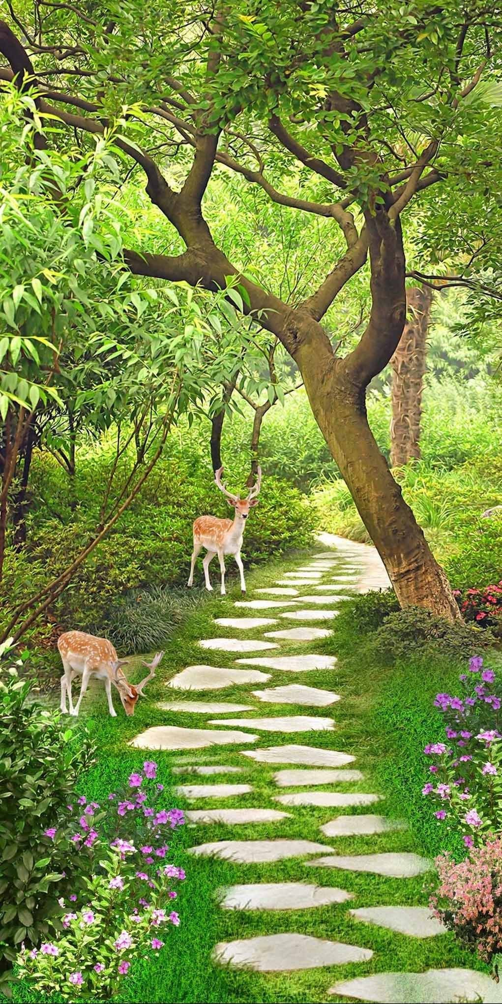 3D little elk by the roadside door mural Wallpaper AJ Wallpaper