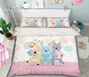 3D Animal Party 056 Bed Pillowcases Quilt Wallpaper AJ Wallpaper