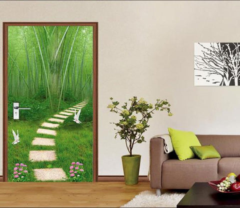 3D bamboo forest dove and flower door mural Wallpaper AJ Wallpaper