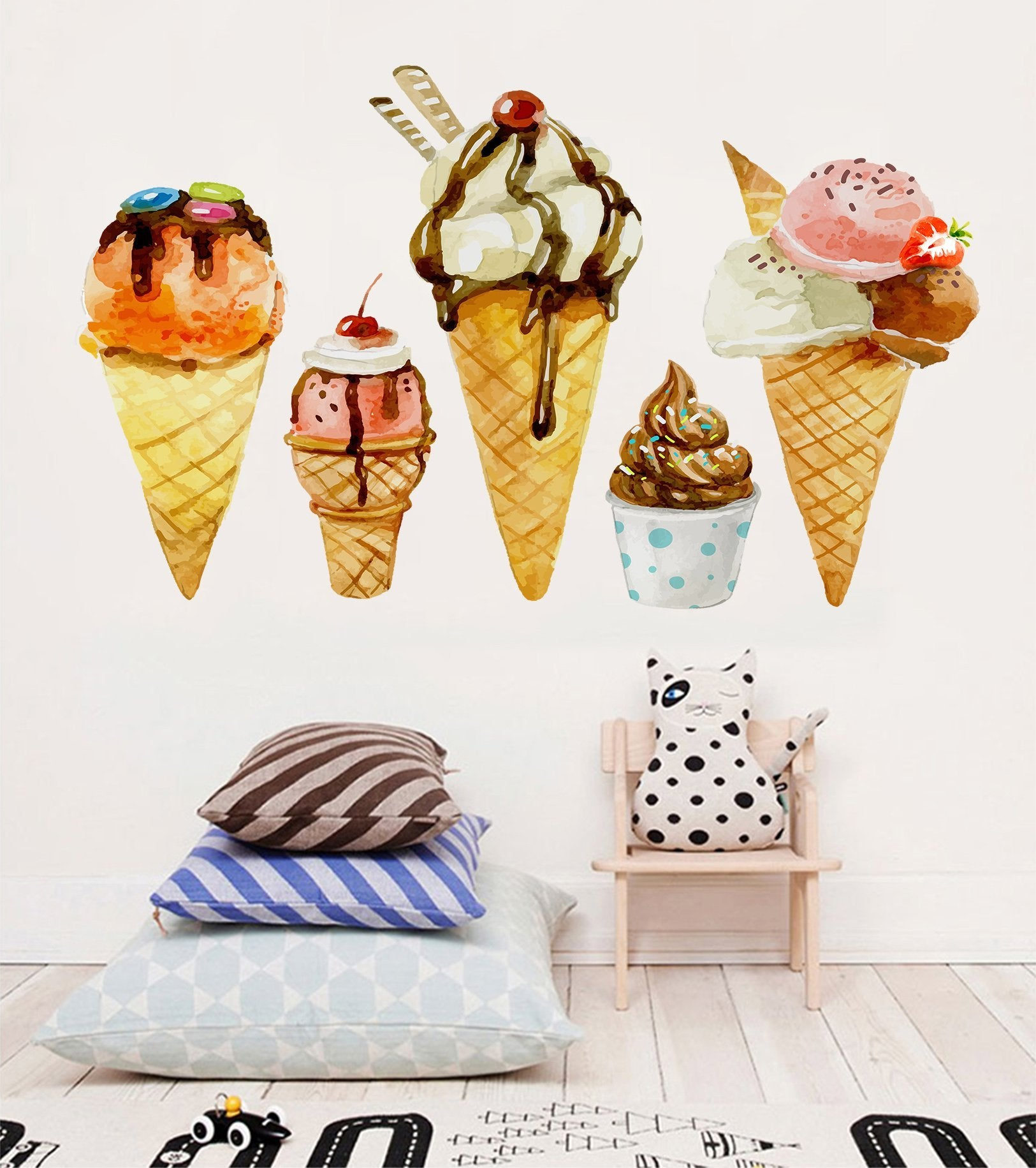 3D Cartoon Ice Cream 032 Wall Stickers Wallpaper AJ Wallpaper
