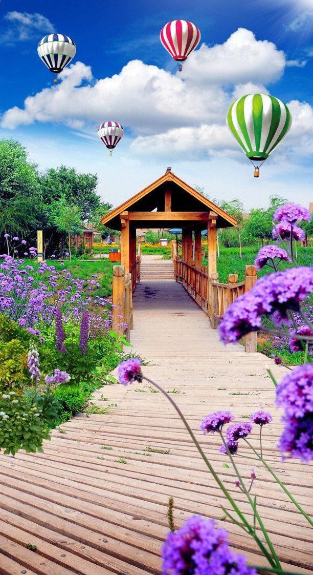 3D hot air balloon plank bridge door mural Wallpaper AJ Wallpaper