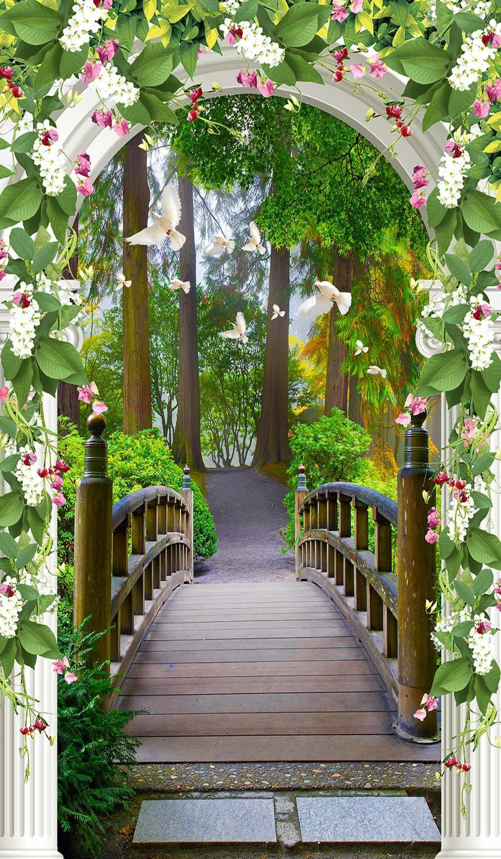 3D arch covered with flowers door mural Wallpaper AJ Wallpaper