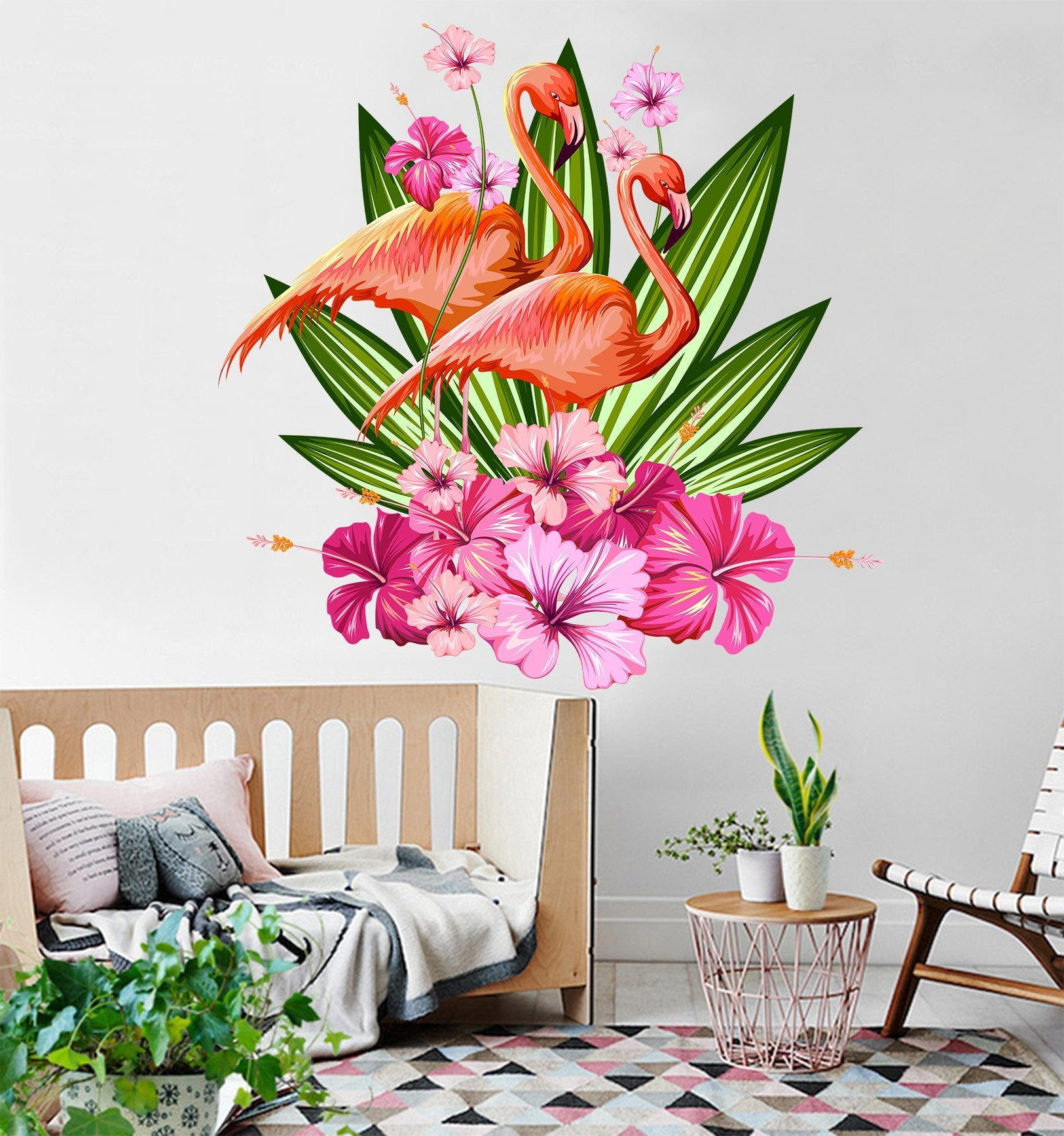 3D Flower Flamingo 011 Wall Stickers Wallpaper AJ Wallpaper
