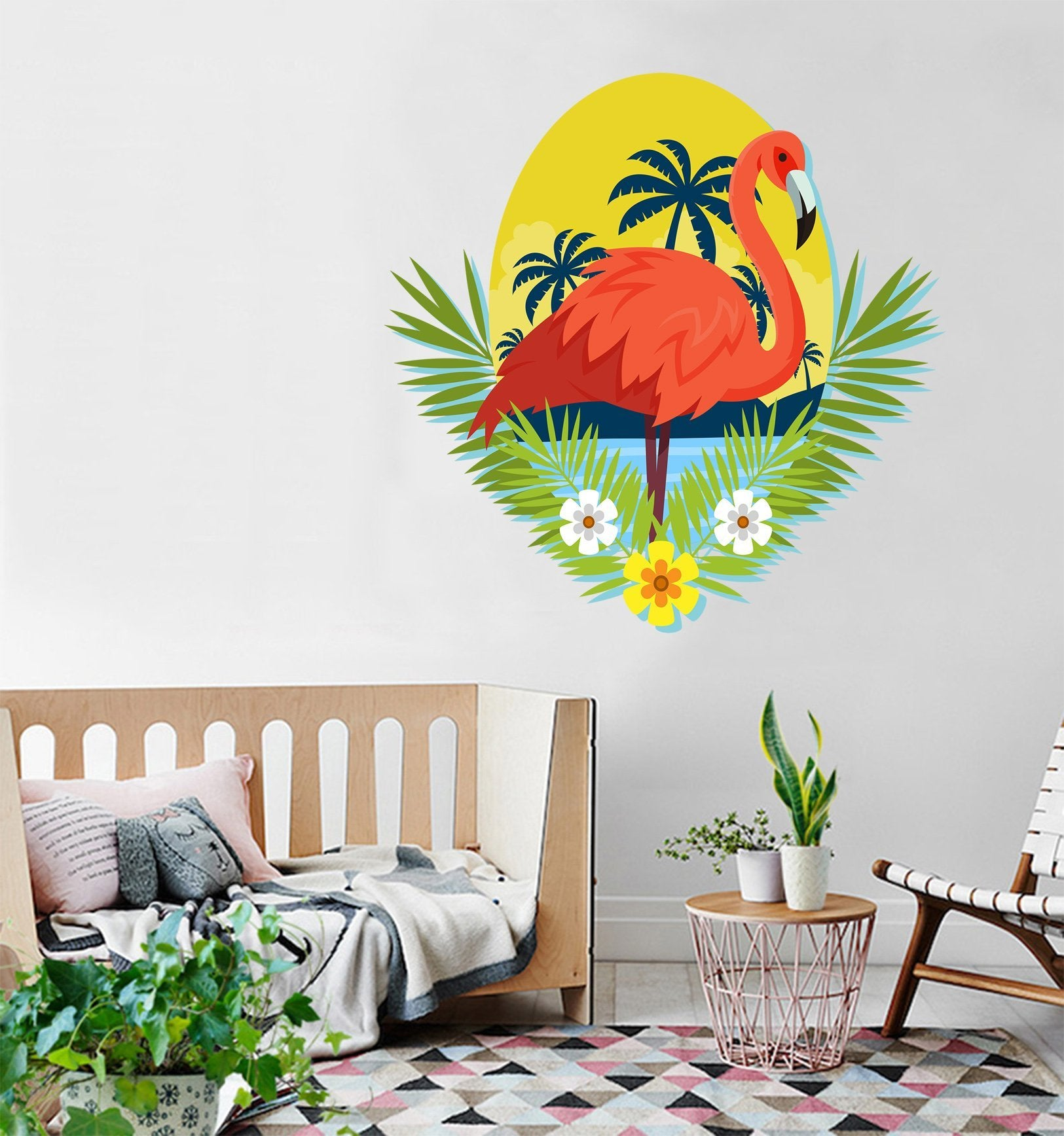 3D Coconut Tree Flamingo 164 Wall Stickers Wallpaper AJ Wallpaper