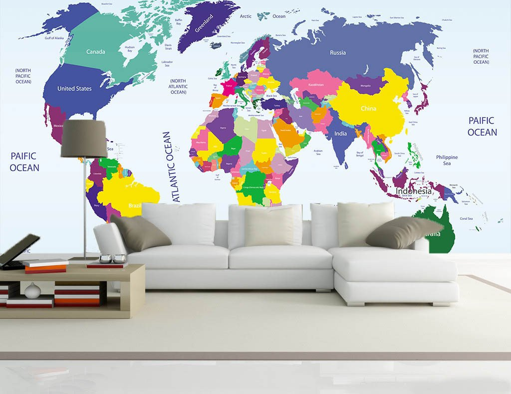 Colored World Map 1 Wallpaper AJ Wallpaper