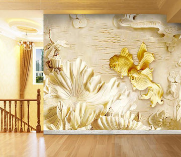 3D Golden flower carving Wallpaper AJ Wallpaper 1