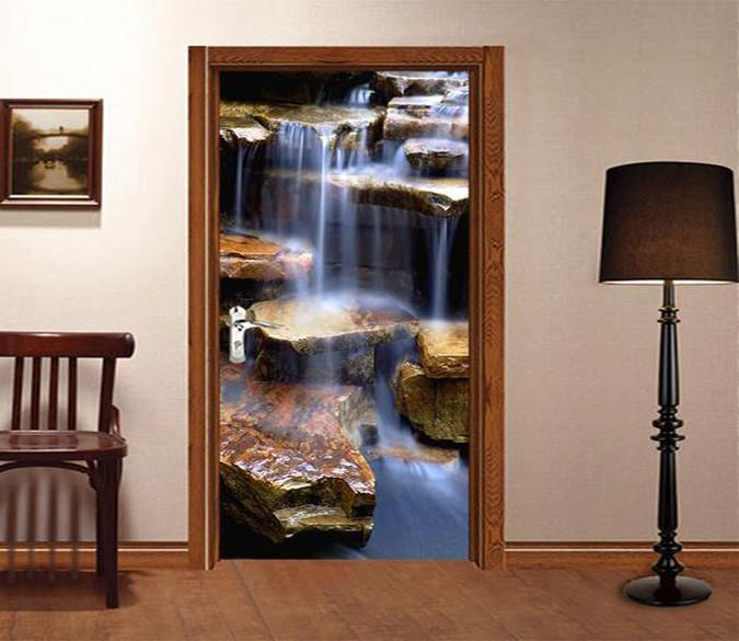 3D big stone in the river door mural Wallpaper AJ Wallpaper
