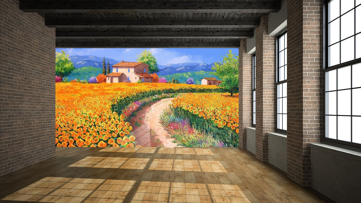 Flowers Fields Painting Wallpaper AJ Wallpaper