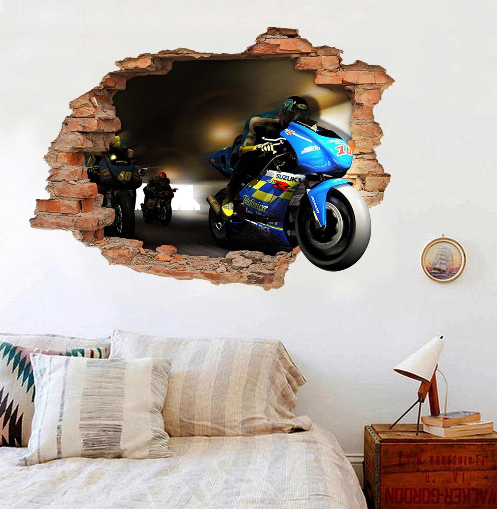 3D Motorcycle Team 14 Broken Wall Murals AJ Wallpaper