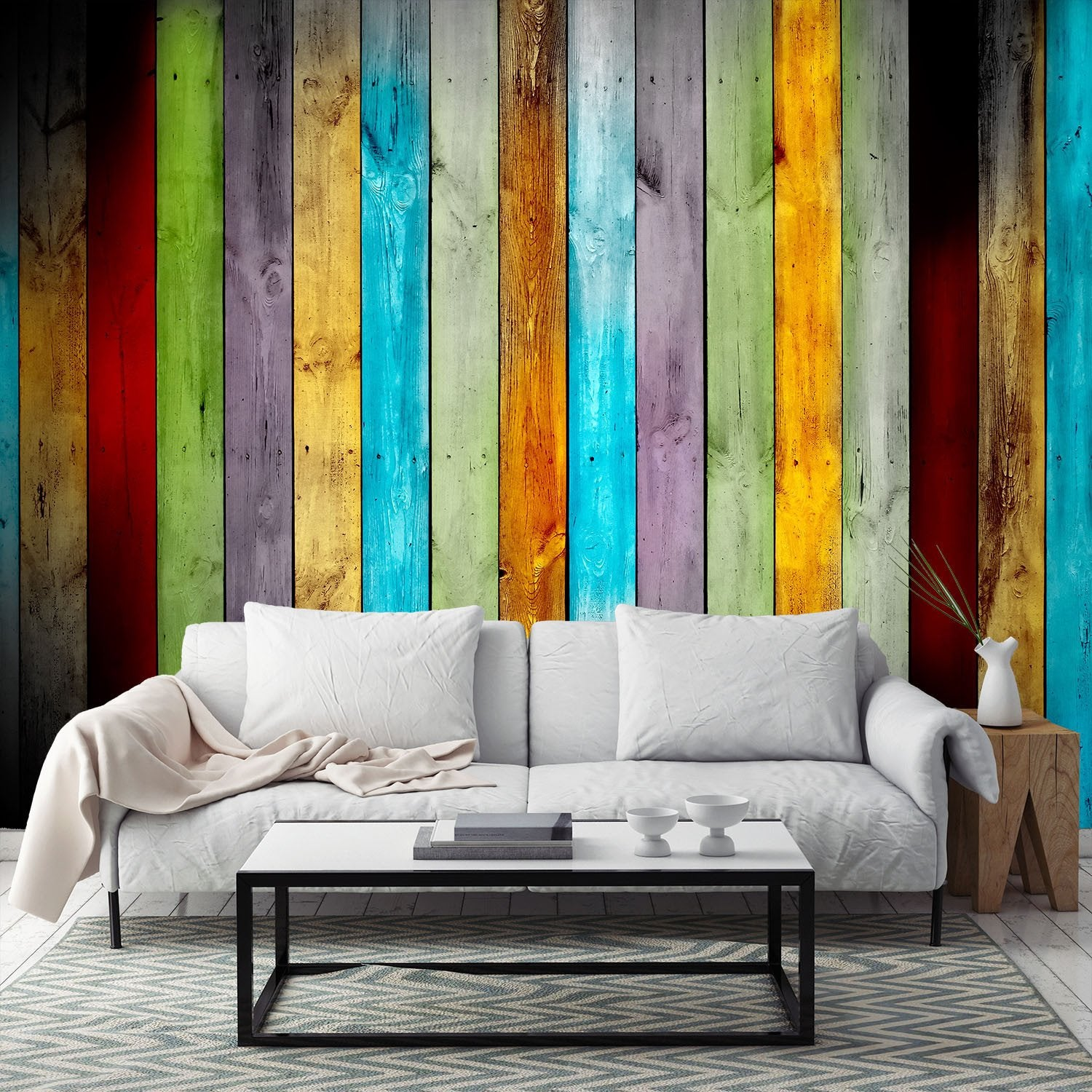 Colorful Wooden Boards Wallpaper AJ Wallpaper