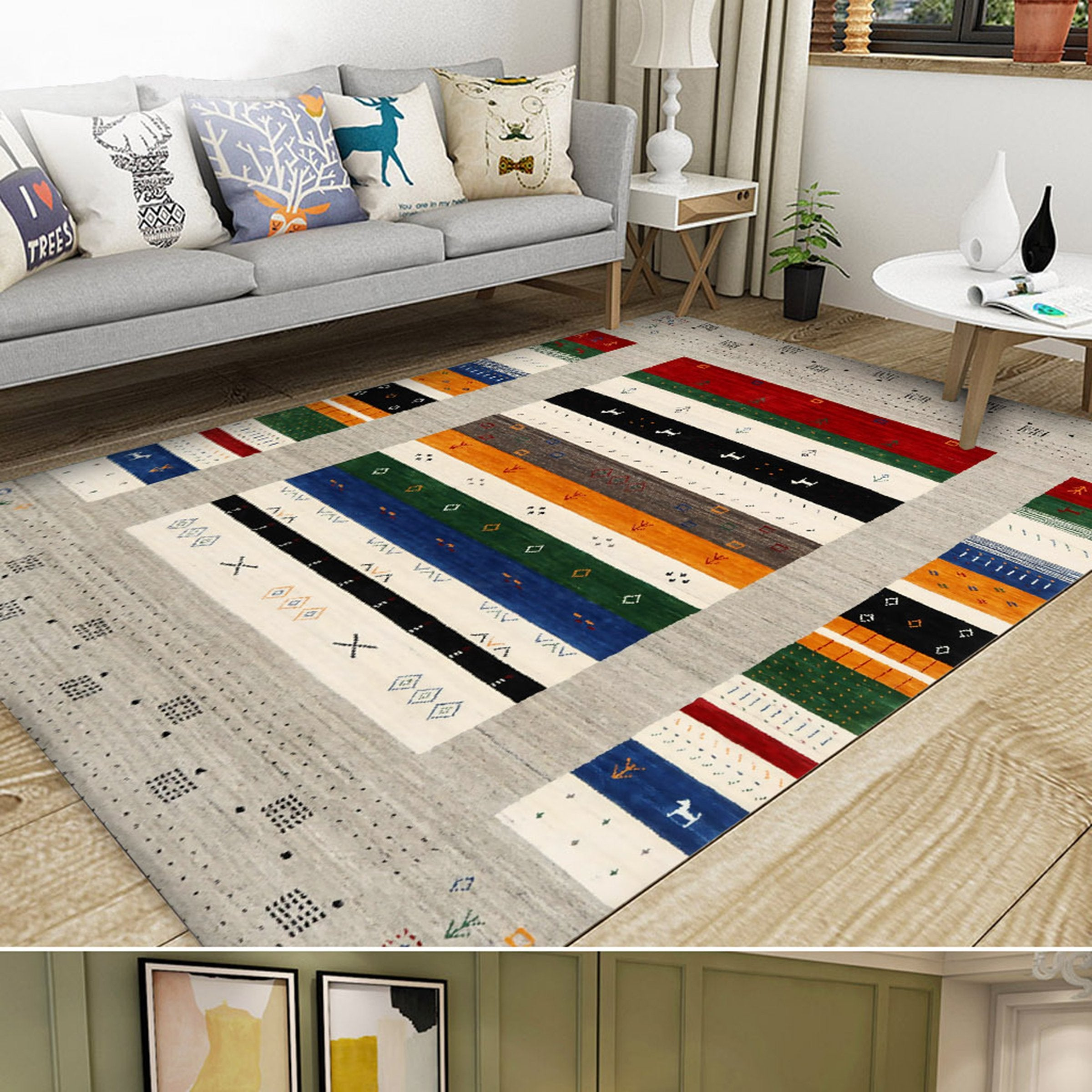 3D Colored Lines WG563 Non Slip Rug Mat