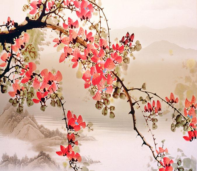 Flowers Bloom And Mountain Wallpaper AJ Wallpaper 1