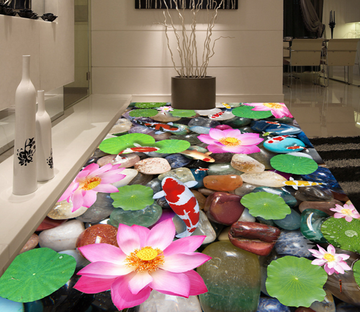 3D Lotus Blossom 195 Floor Mural Wallpaper AJ Wallpaper 2