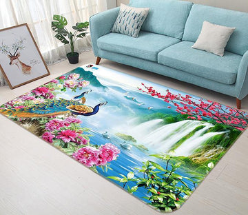 3D Peacock Waterfall 567 Non Slip Rug Mat Mat AJ Creativity Home