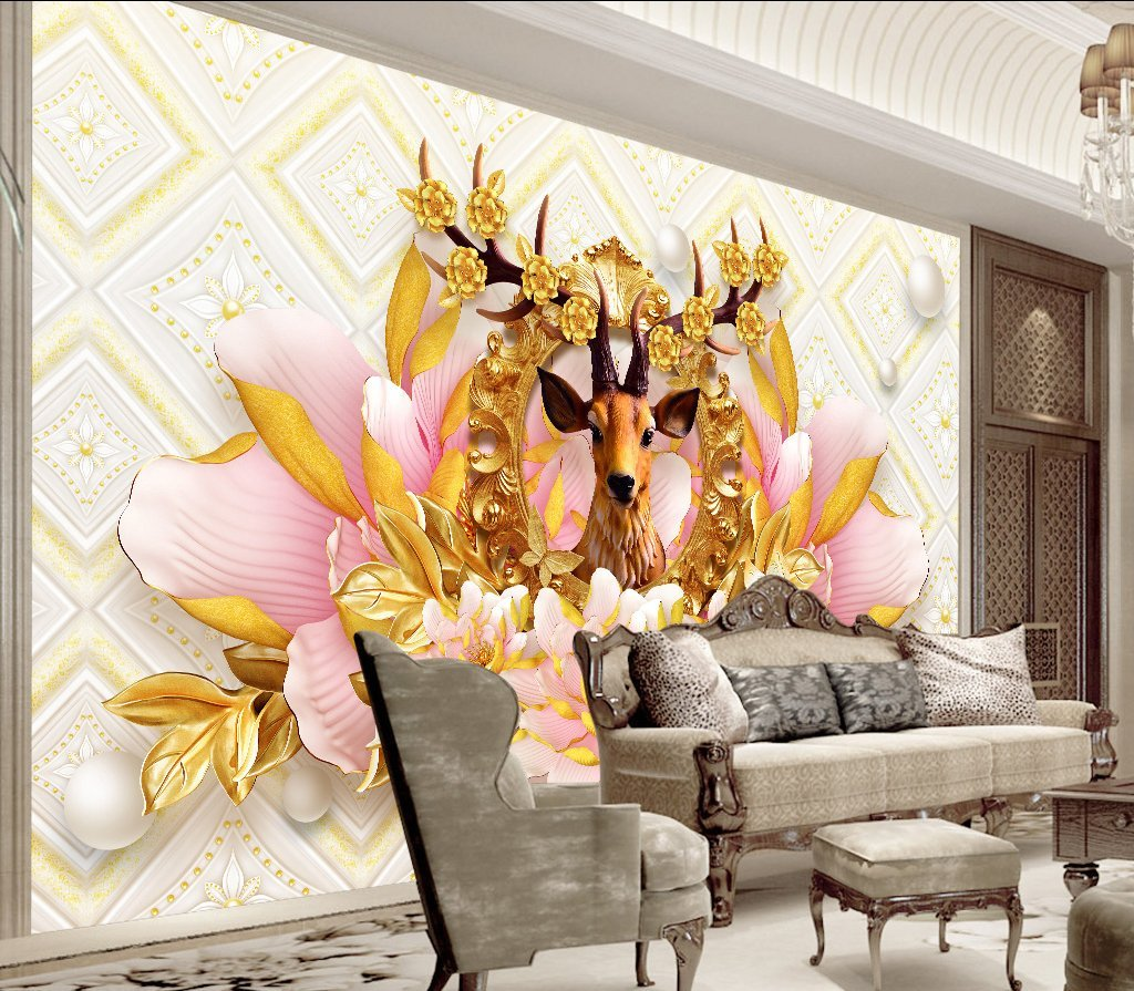 3D Flower Elk 78 Wall Murals Wallpaper AJ Wallpaper 2
