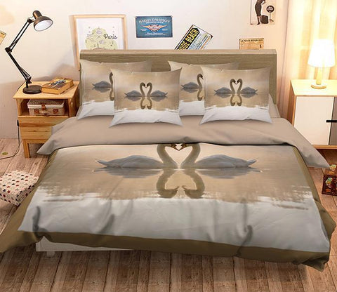 3D Sunset Goose 140 Bed Pillowcases Quilt Wallpaper AJ Wallpaper