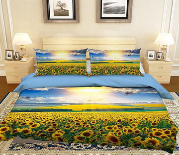 3D Sunset Sunflower 161 Bed Pillowcases Quilt Wallpaper AJ Wallpaper