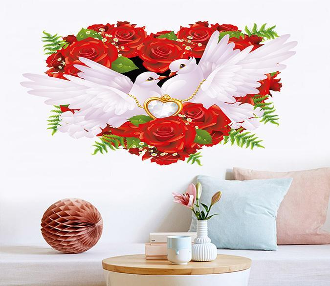 3D Safflower Pigeon 027 Wall Stickers Wallpaper AJ Wallpaper