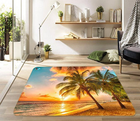 3D Sunset Sea Tree 438 Non Slip Rug Mat