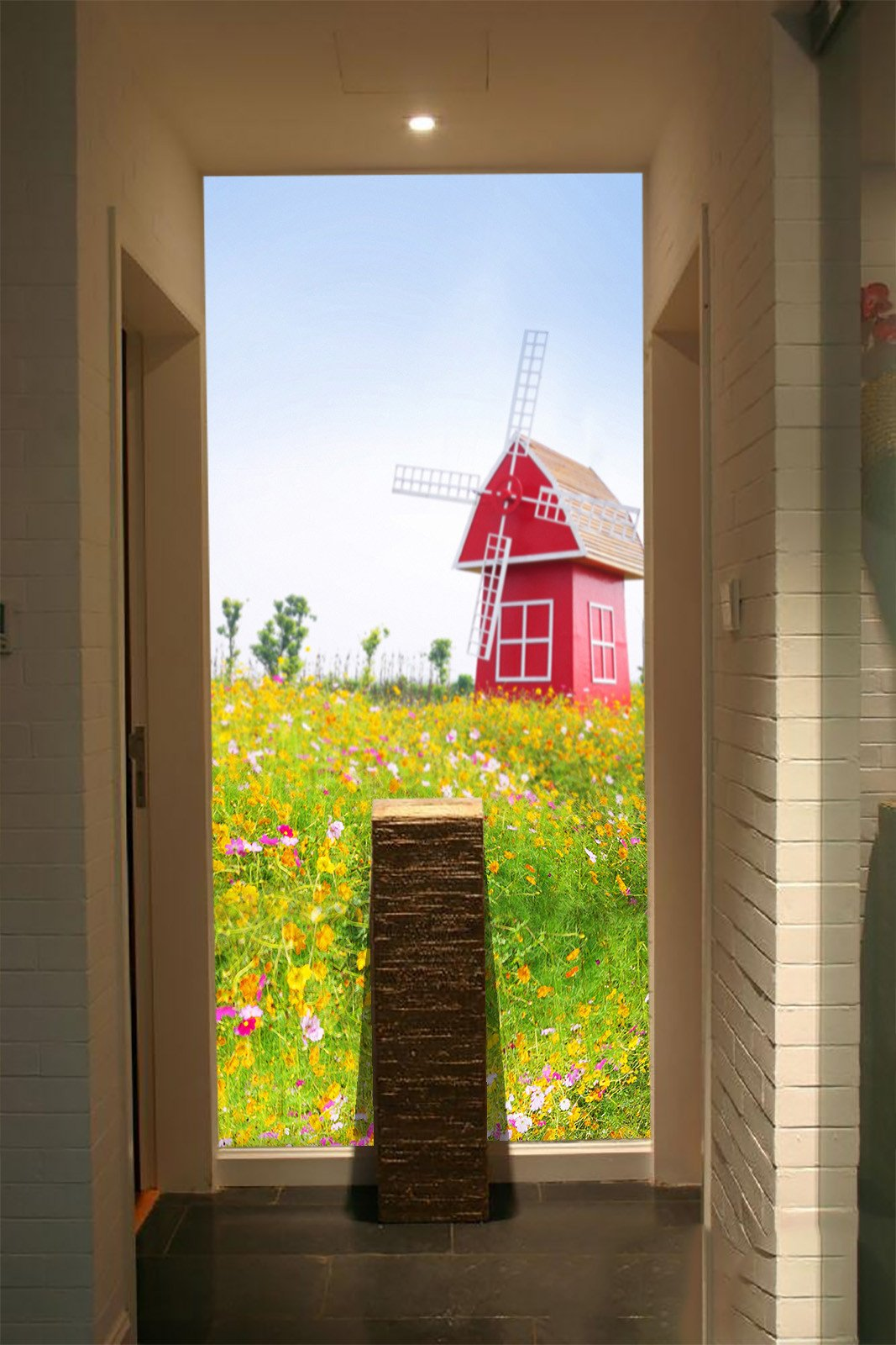 Red Windmill House Wallpaper AJ Wallpaper