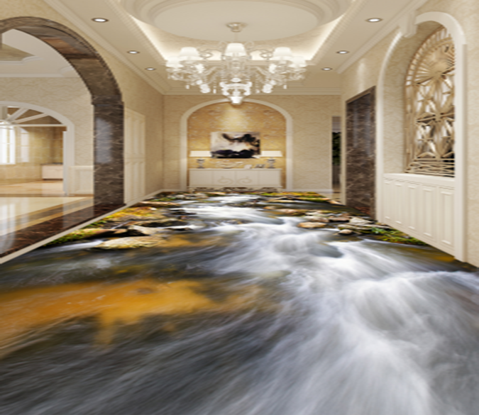 3D River Overflowing 043 Floor Mural Wallpaper AJ Wallpaper 2