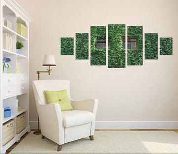 3D Green Leaf Wall 003 Unframed Print Wallpaper Wallpaper AJ Wallpaper