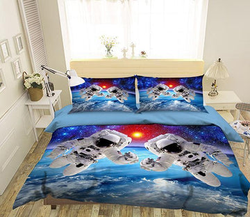 3D Astronauts Flying 147 Bed Pillowcases Quilt Wallpaper AJ Wallpaper