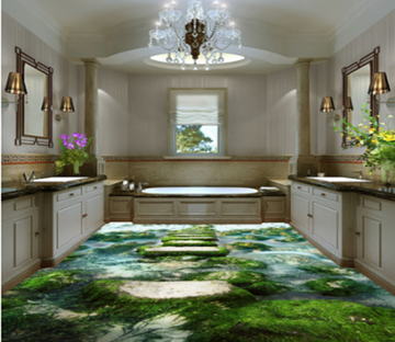 3D Stone Moss 395 Floor Mural Wallpaper AJ Wallpaper 2