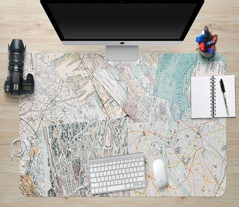 3D World Map 041 Desk Mat Mat AJ Creativity Home