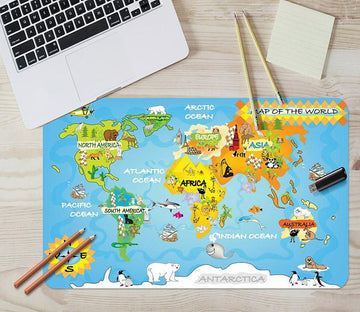 3D Animal Map 046 Desk Mat Mat AJ Creativity Home