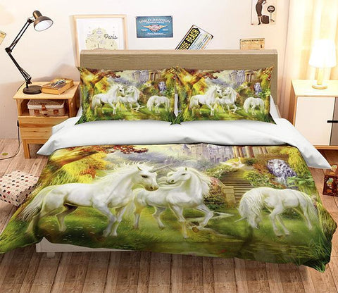 3D Unicorn River 248 Bed Pillowcases Quilt