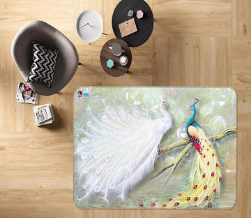 3D White Peacock 564 Non Slip Rug Mat Mat AJ Creativity Home